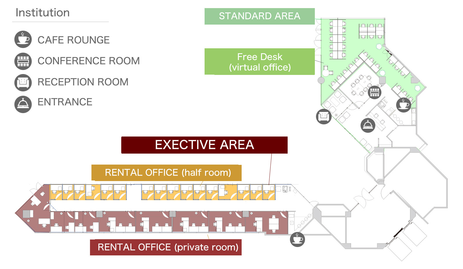 Virtual Office Rental Shared Desk Price Plan Ba Schematic Diagram Of Rented And Room Type