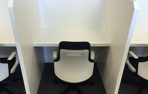 shared desk booth